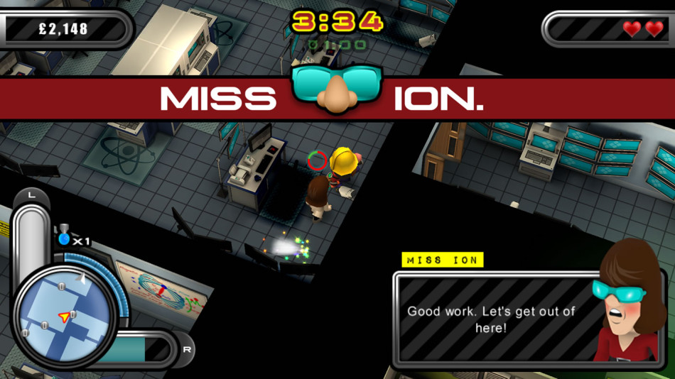 """The cheesily named """"Miss Ion"""" gives you missions to do on every other level - that is, if she doesn't die."""